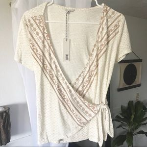 Lucky Brand Neutral Floral Print Top
